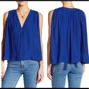 Free People Crop Top Flowy Blue Size Small
